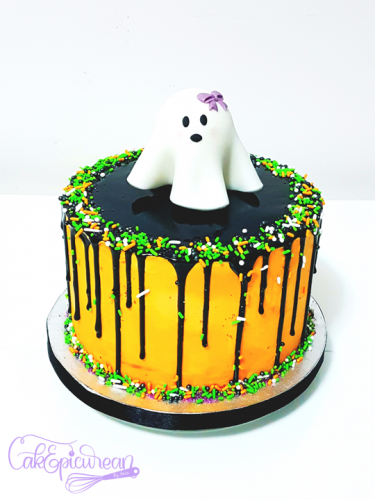 Cute Ghost Halloween Drip Cake