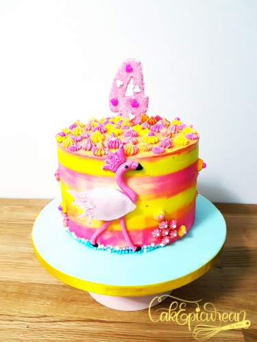 Flamingo Buttercream Cake
