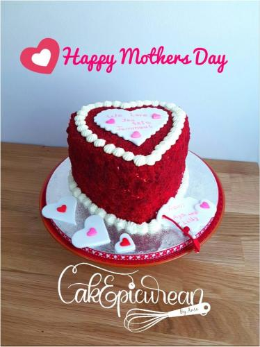 Red Velvet Heart Mothers Day Cake